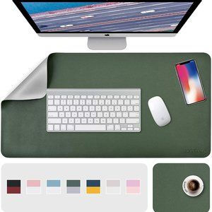 """31.5"""" x 15.7"""" + 8""""x11"""" Leather Desk Pad 2 Pack, Green__Gray"""